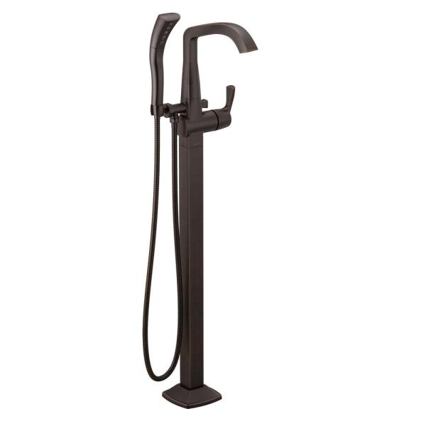 Stryke 1-Handle Freestanding Tub Filler Trim Kit in Venetian Bronze with Handshower (Valve Not Included)