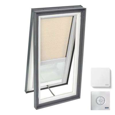22-1/2 in. x 46-1/2 in. Venting Curb Mount Skylight w/ Tempered Low-E3 Glass & Beige Solar Powered Room Darkening Blind