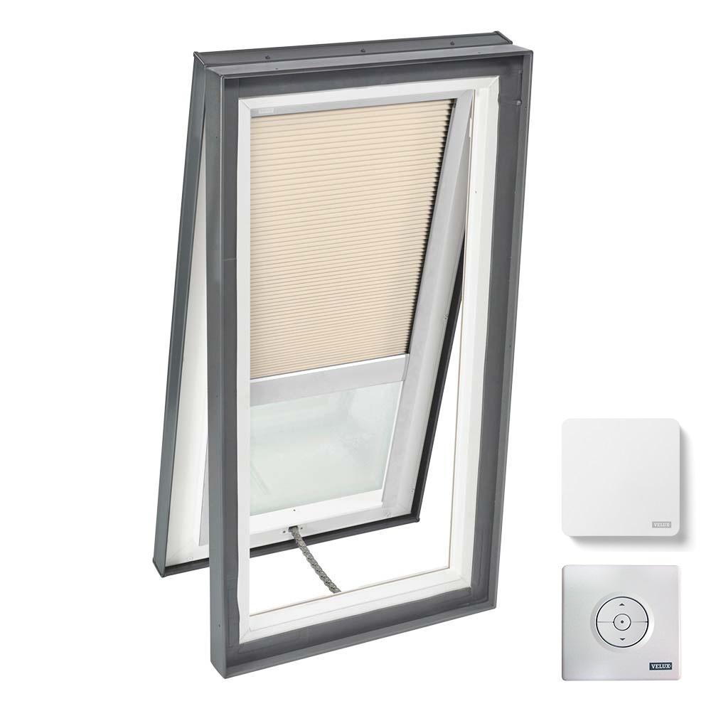 VELUX 22-1/2 in. x 46-1/2 in. Venting Curb Mount Skylight w/ Tempered Low-E3 Glass & Beige Solar Powered Room Darkening Blind