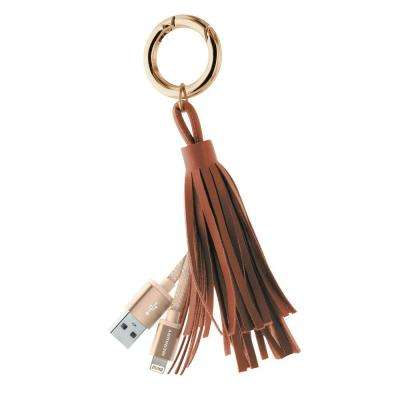 Apple MFi Certified Tassle Lightning Key Ring with Aluminum Tips, Brown/Gold