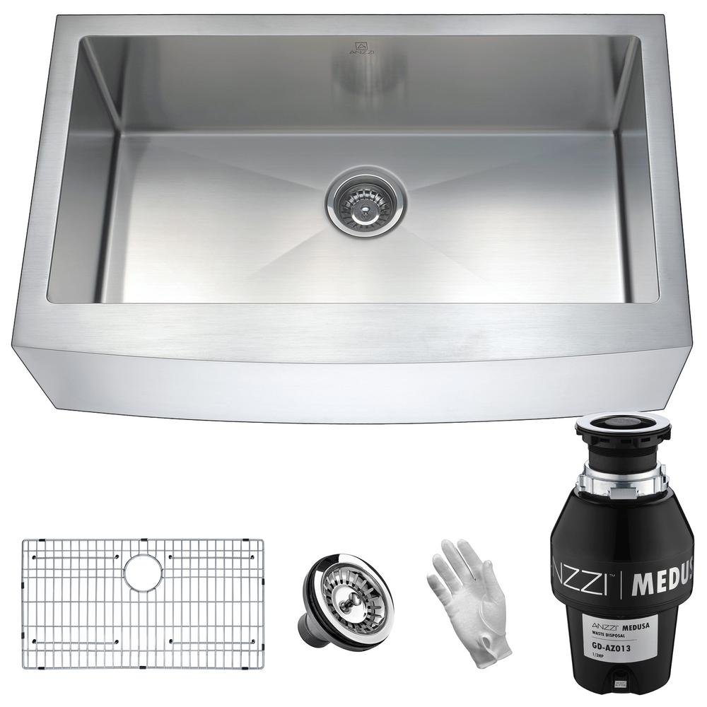 Elysian Farmhouse Stainless Steel 32 in. Single Bowl Kitchen Sink with