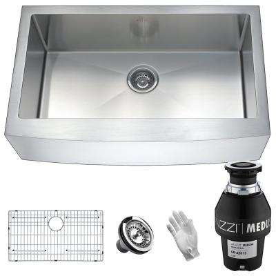 Elysian Farmhouse Stainless Steel 32 in. Single Bowl Kitchen Sink with Medusa Series 1/3 HP Garbage Disposal
