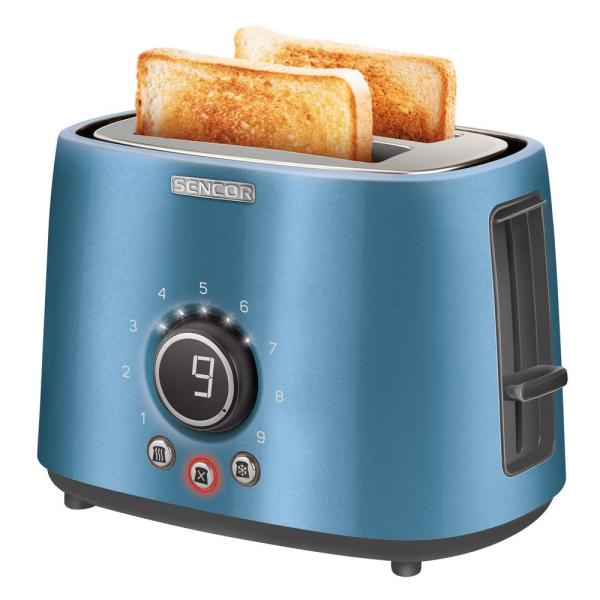 2-Slice Blue Long Slot Toaster with Rack