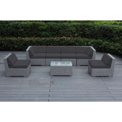 Gray 7-Piece Wicker Patio Seating Set with Spuncrylic Gray Cushions