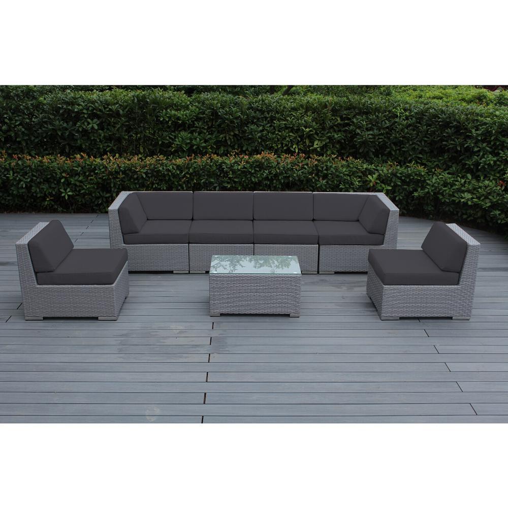 Gray 7-Piece Wicker Patio Seating Set with Spuncrylic Gray Cushions