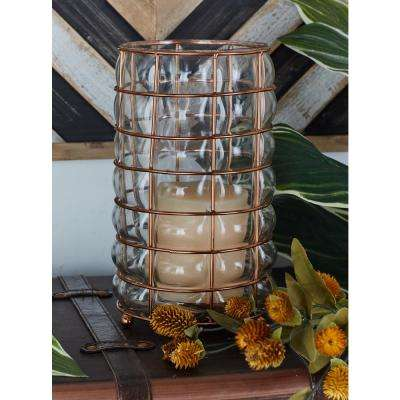 Metallic Copper Square-Woven and Pillowed Candle Lantern