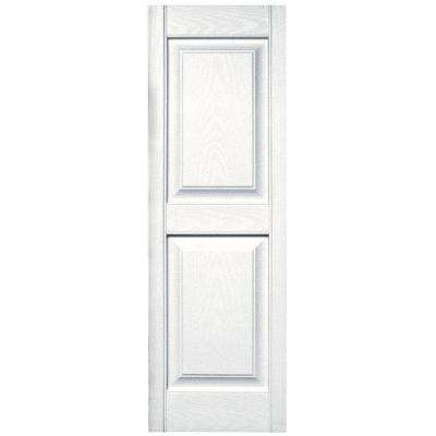 15 in. x 47 in. Raised Panel Vinyl Exterior Shutters Pair in #001 White