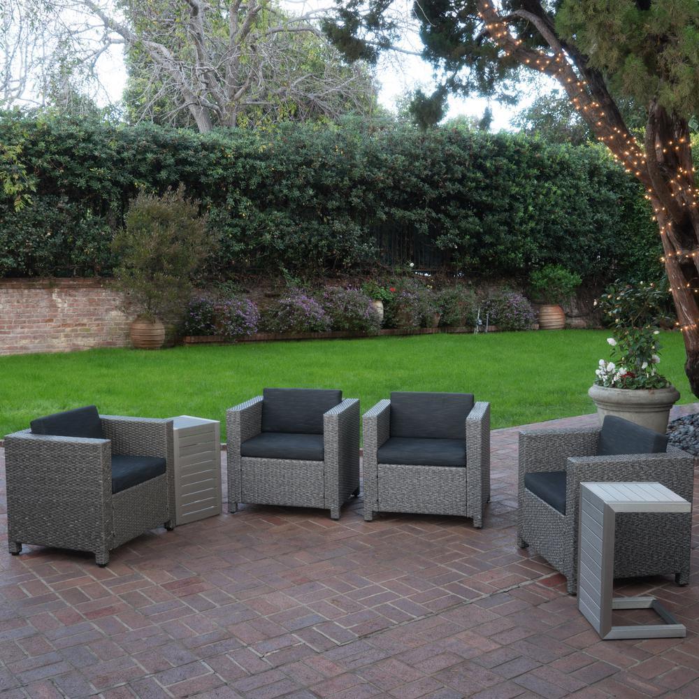 Puerta Dark Grey 6-Piece Wicker Patio Conversation Set with Black Cushions