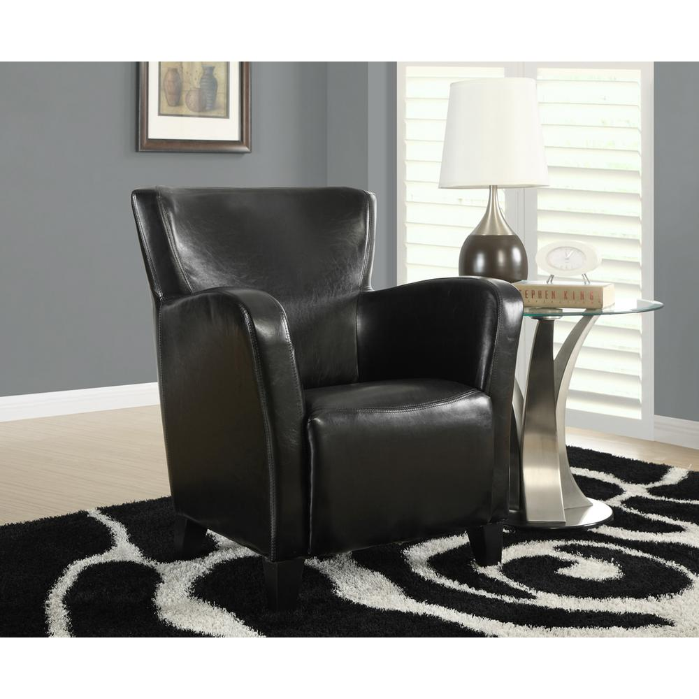 Europa Black Leather-Look Club Arm Chair