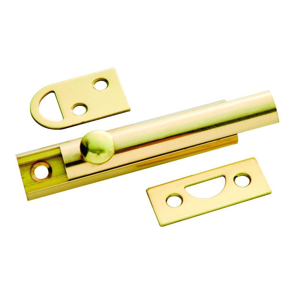 3 in. Polished Solid Brass Slide Door Bolt
