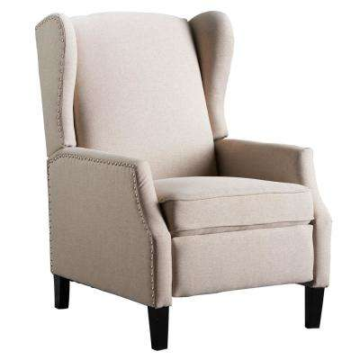 Wescott Traditional Wheat Fabric Recliner with Stud Accents