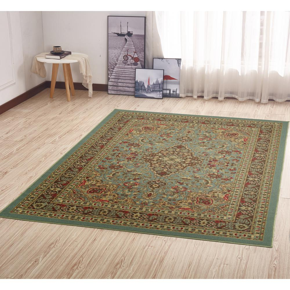 Ottomanson Ottohome Collection Traditional Persian All Over Pattern Design Seafoam 5 Ft X 7 Ft Area Rug Oth2215 5x7 The Home Depot