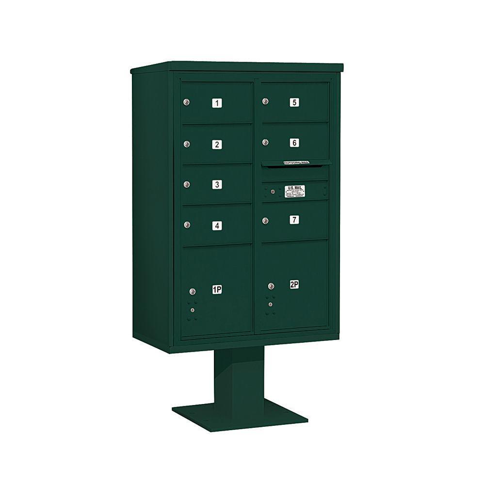 Salsbury Industries 3400 Series Green Mount 4C Pedestal Mailbox with 7 MB2/2 PL5