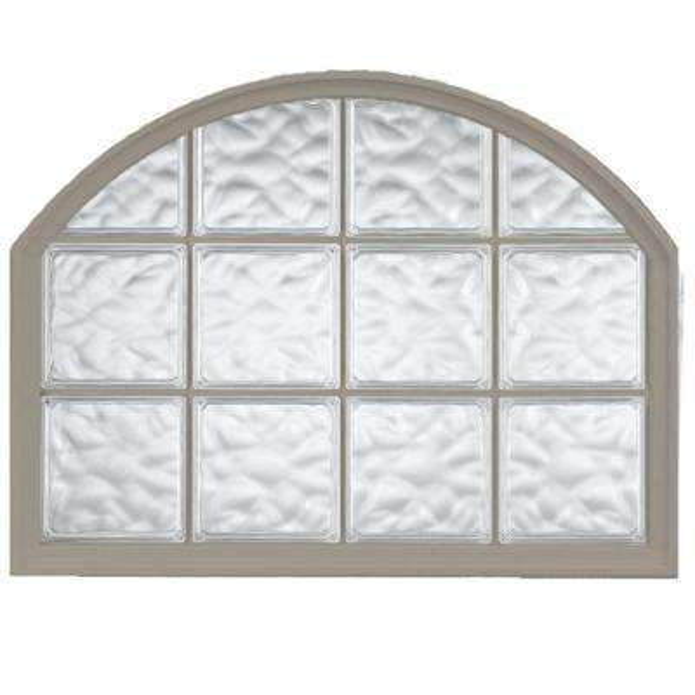 42 in. x 50 in. Acrylic Block Arch Top Vinyl Window - Driftwood
