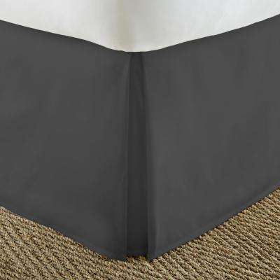Pleated Dust Ruffle Black Queen Performance Bed Skirt
