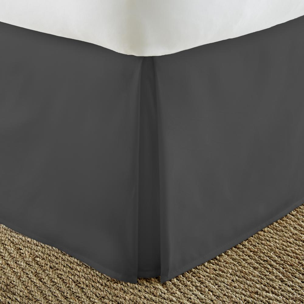 Becky Cameron 14 in. Black Solid Queen Bed Skirt IEH BDSK Q BL