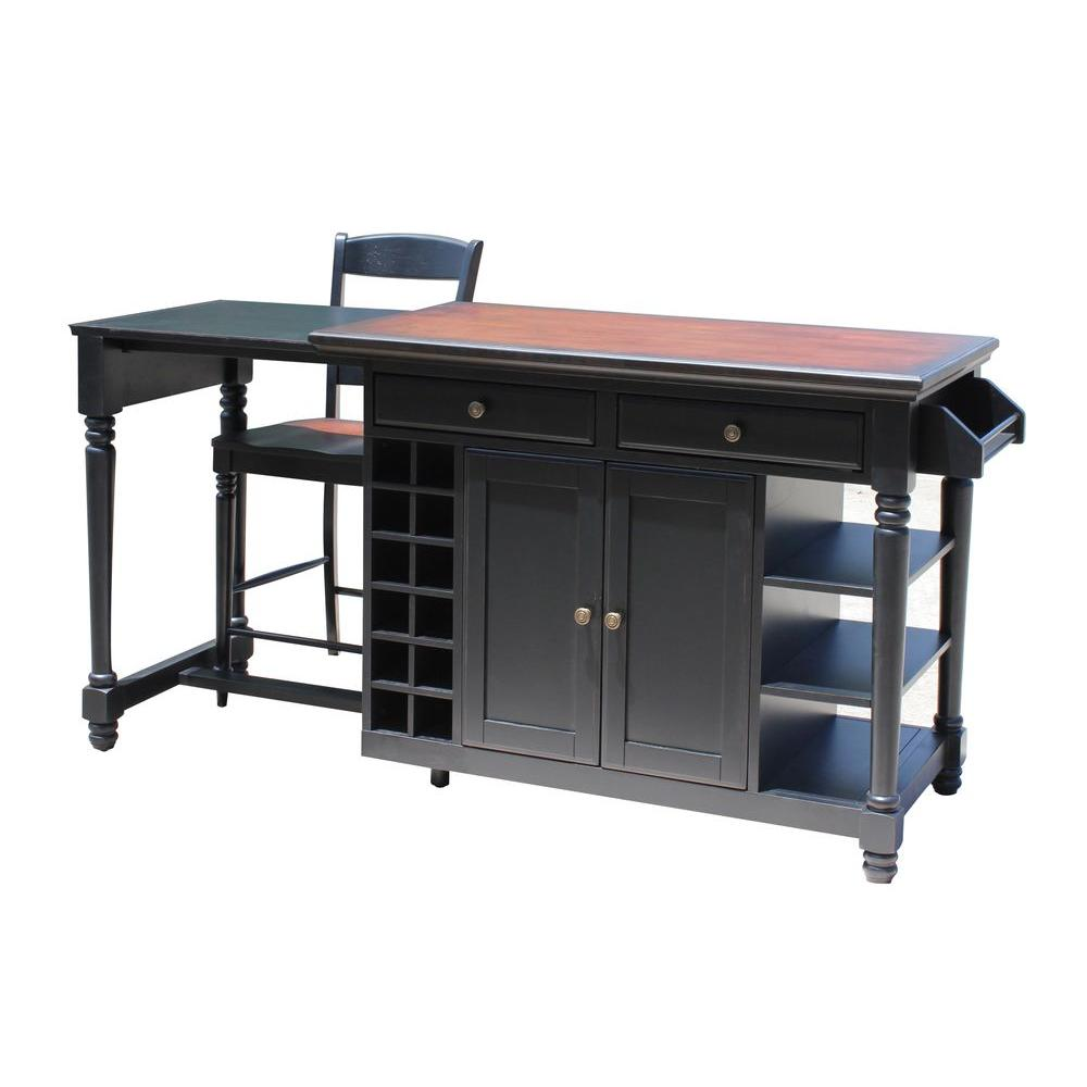Black Kitchen Islands: Home Styles Grand Torino Black Kitchen Island With Seating