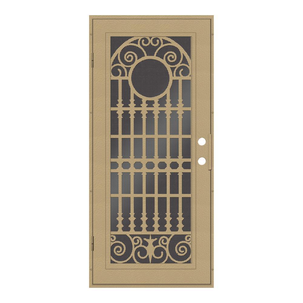 36 in. x 80 in. Spaniard Desert Sand Left-Hand Surface Mount Aluminum Security Door with Black Perforated Metal Screen