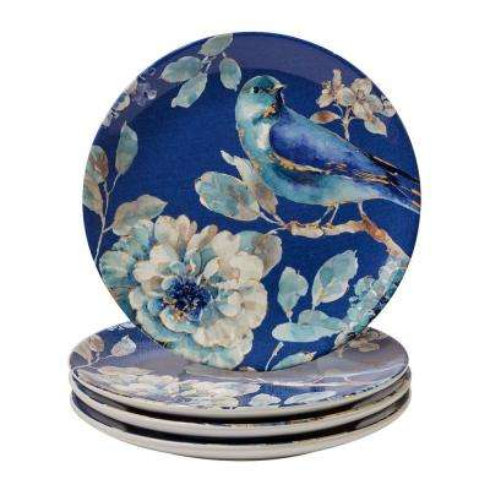 Indigold Blue 9 in. Bird Salad Plate (Set of 4)