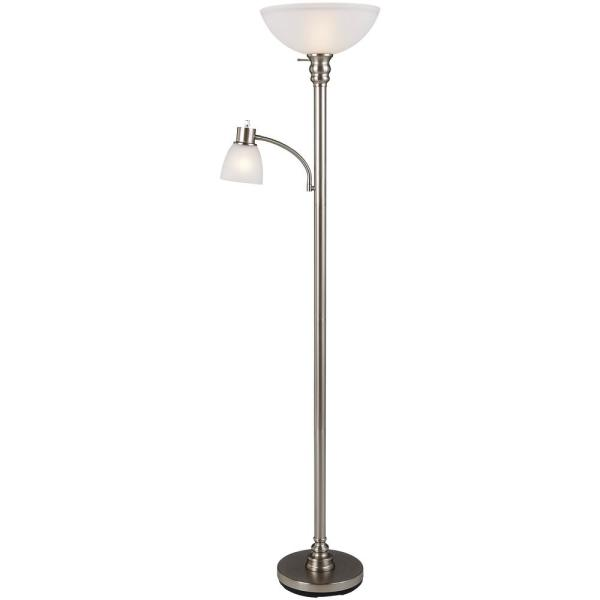 Hampton Bay 70 In Brushed Nickel Floor Lamp With Reading Light And Frosted Glass Shade 19273 002 The Home Depot