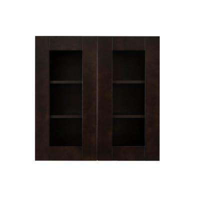 Anchester Assembled 24 in. x 36 in. x 12 in. Wall Mullion Door Cabinet with 2 Doors 2 Shelves in Dark Espresso