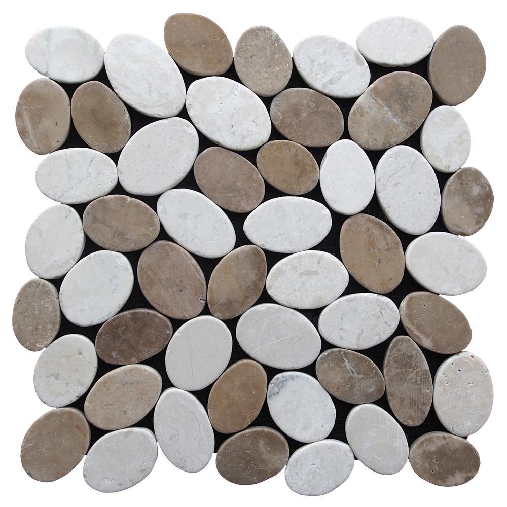 Cruz Bay Pebble Marble Tile Tan/ Off-White 11-1/2 in x 11-1/2 in x 9.5mm Mesh-Mounted Mosaic Tile (10.12 sq. ft. / case)