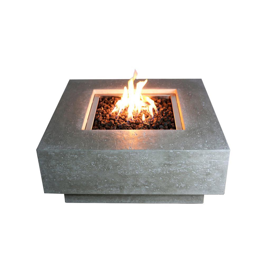Elementi Manhattan 36 in. x 16 in. Square Concrete Propane Fire Pit Table with Lava Rock