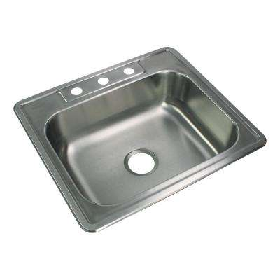 Select Drop-In Stainless Steel 25 in. 3-Hole Single Bowl Kitchen Sink in Brushed Stainless Steel