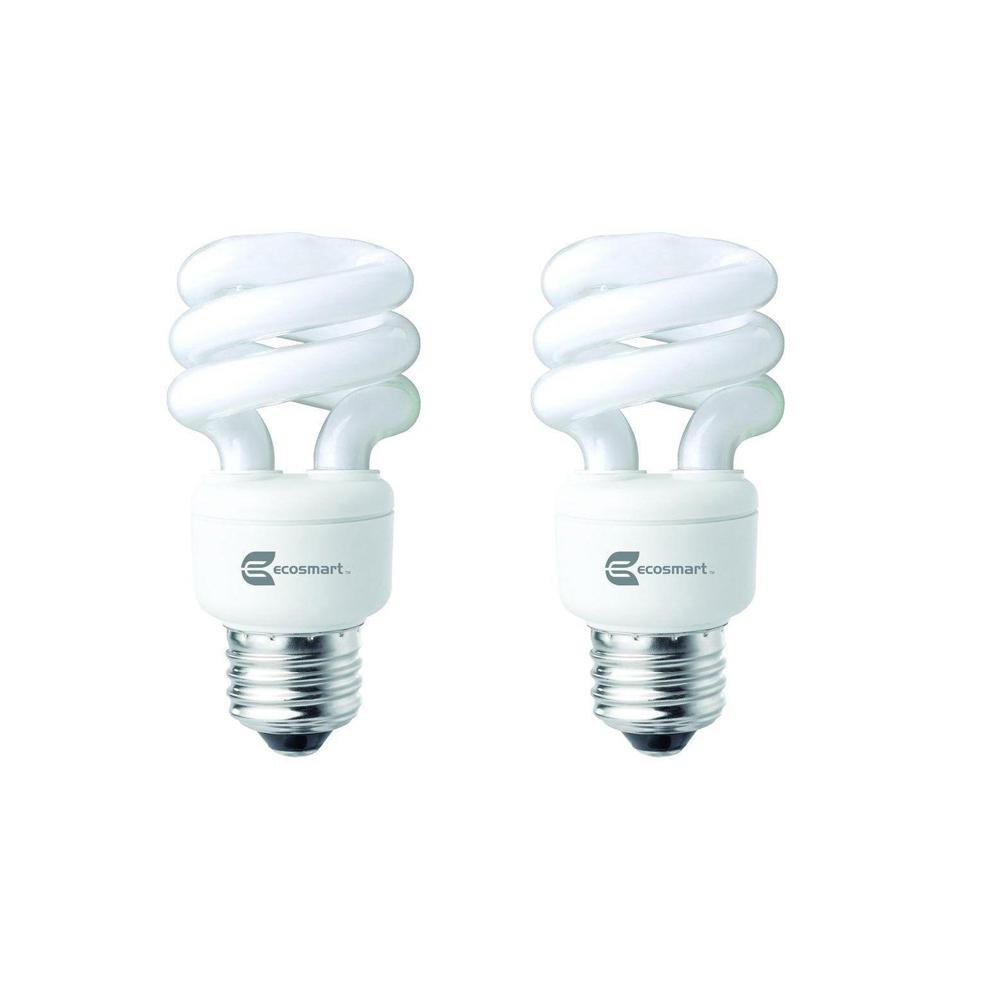 40-Watt Equivalent Spiral Non-Dimmable CFL Light Bulb Daylight (2-Pack)