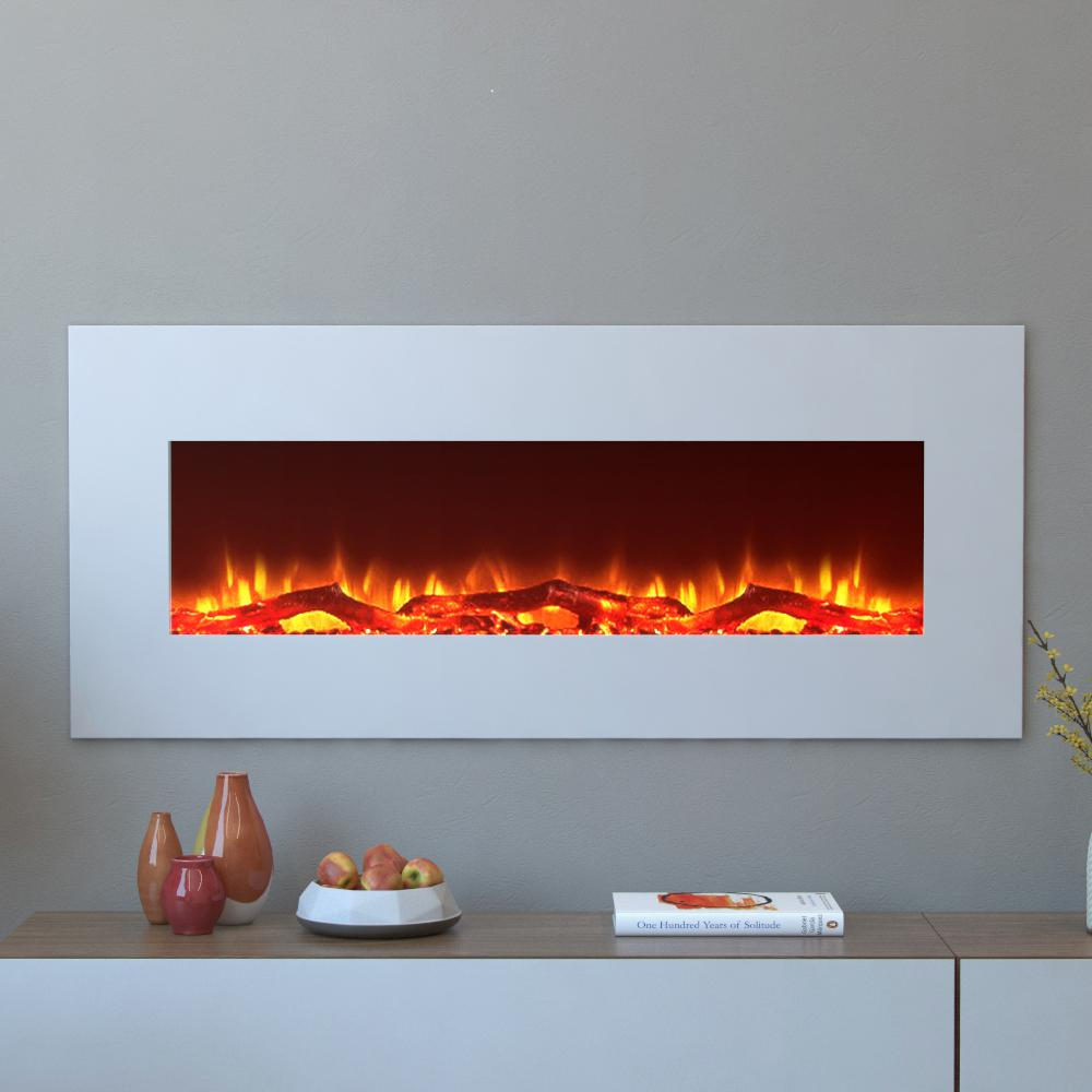 Moda Flame Houston Electric Wall Mounted Fireplace in White provides a strong and sturdy structure for the fireplace. Offers durability.