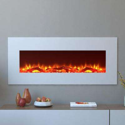 Houston 50 in. Electric Wall Mounted Fireplace in White