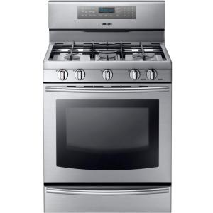 Click here to buy Samsung 30 inch 5.8 cu. ft. Gas Range with Self-Cleaning Convection Oven and 5 Burner Cooktop in Stainless Steel by Samsung.