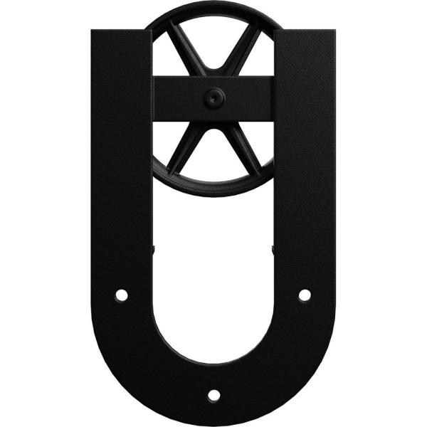 Goldberg Brothers Inc 1 5 8 In X 8 In X 13 5 8 In Steel Premium Wagon Wheel Horseshoe Roller Hanger Moulding Matte Black Gb60014r2wmb The Home Depot