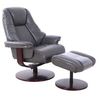 Lindley Charcoal Air Leather Recliner with Ottoman