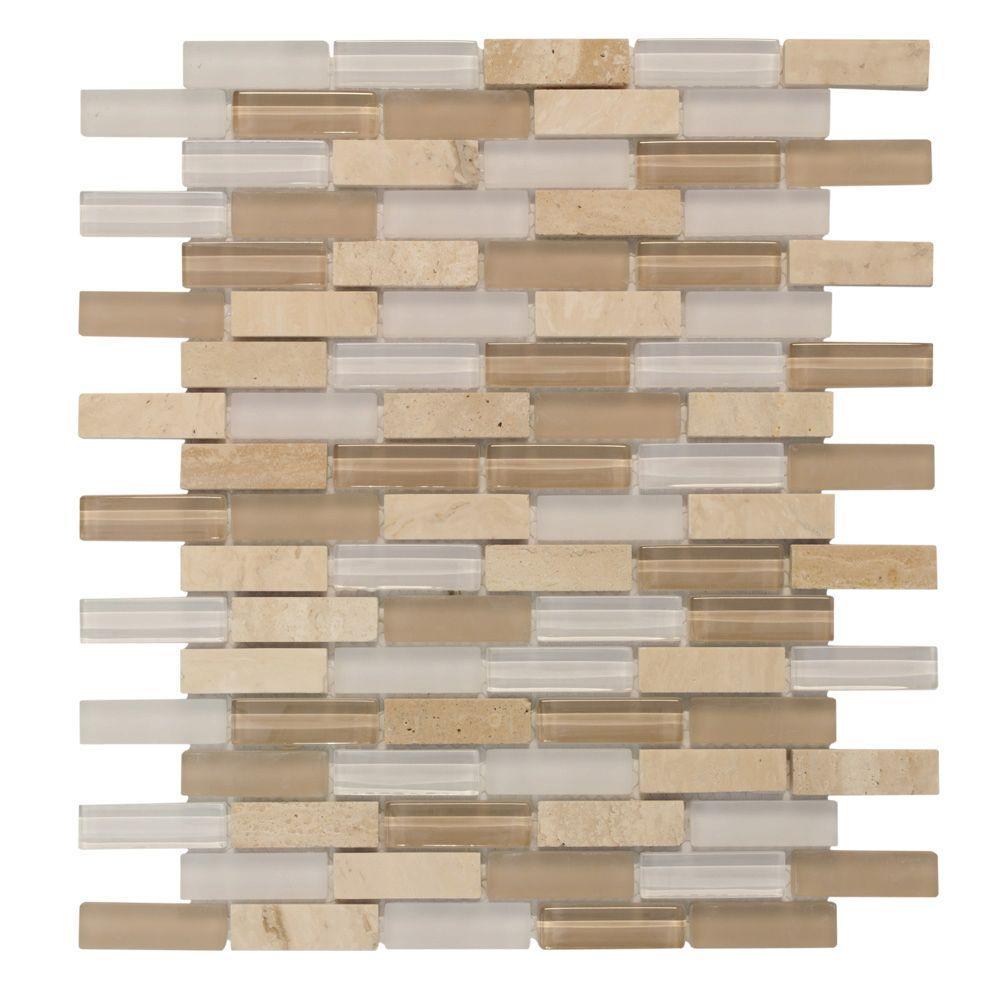 Cottage Ridge Mini Brick 11.75 in. x 12 in. x 8 mm Glass/Stone Mosaic Wall Tile