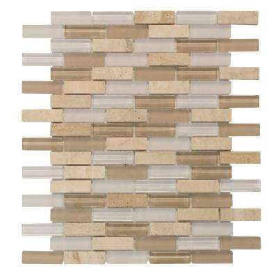 Cottage Ridge Mini Brick Beige 11.75 in. x 12 in. x 8 mm Interlocking Glass/Stone Mosaic Tile
