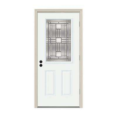32 in. x 80 in. 1/2 Lite Cordova White Painted Steel Prehung Left-Hand Outswing Front Door w/Brickmould