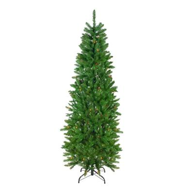 6.5 ft. Pre-Lit White River Fir Artificial Pencil Christmas Tree with Multi Lights