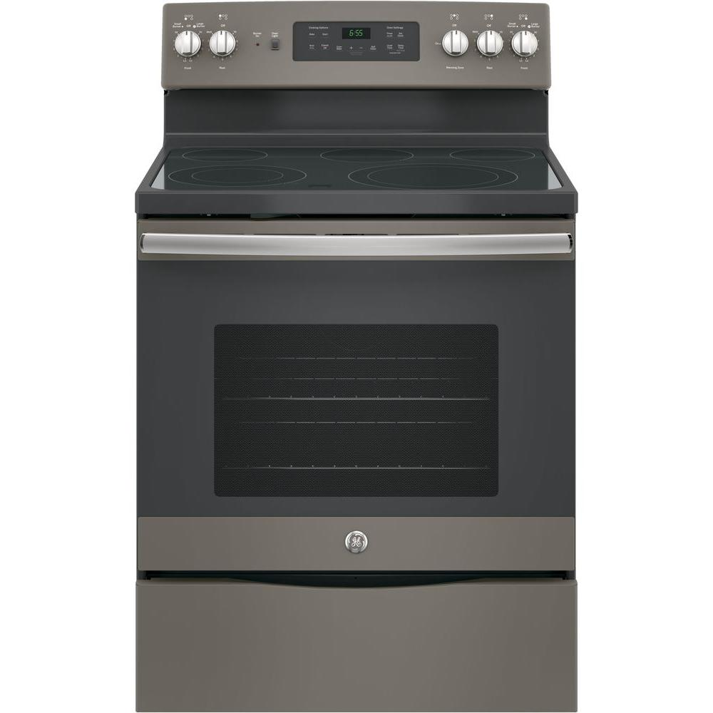 GE 30 in. 5.3 cu. ft. Free-Standing Electric Self-Clean Range with Convection in Slate