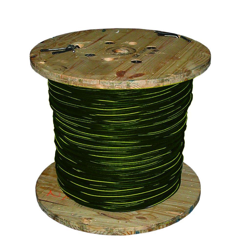 1,000 ft. 1/0-1/0-1/0 Black Stranded AL Quad Notre Dame URD Cable
