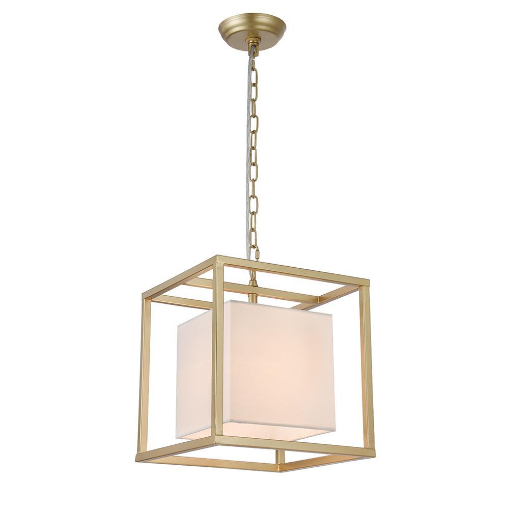 Lussa 1 Light Square Gold Pendant