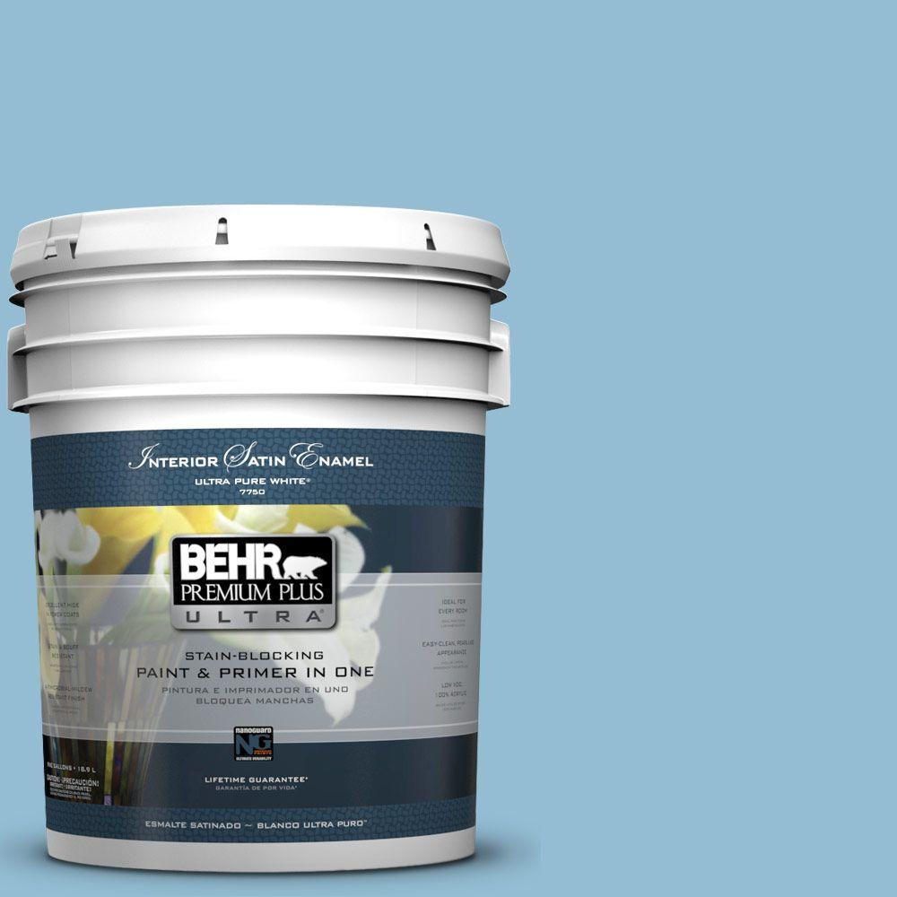 5 gal. #M500-3 Blue Chalk Color Satin Enamel Interior Paint