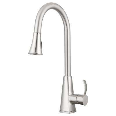 Bridgeport Single-Handle Pull-Down Sprayer Kitchen Faucet with Multiple Spray Functions in Brushed Satin Nickel