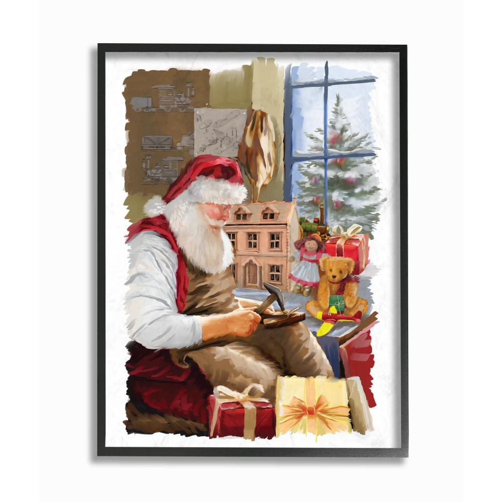 stupell industries 16 in x 20 in holiday santa creating toys and winter