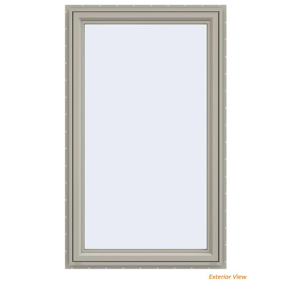 35.5 in. x 59.5 in. V-4500 Series Desert Sand Vinyl Left-Handed Casement Window with Fiberglass Mesh Screen