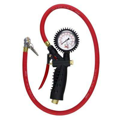 Pro Analog Pistol Grip Inflator Gauge with 36 in. Hose and Ball Chuck with Clip