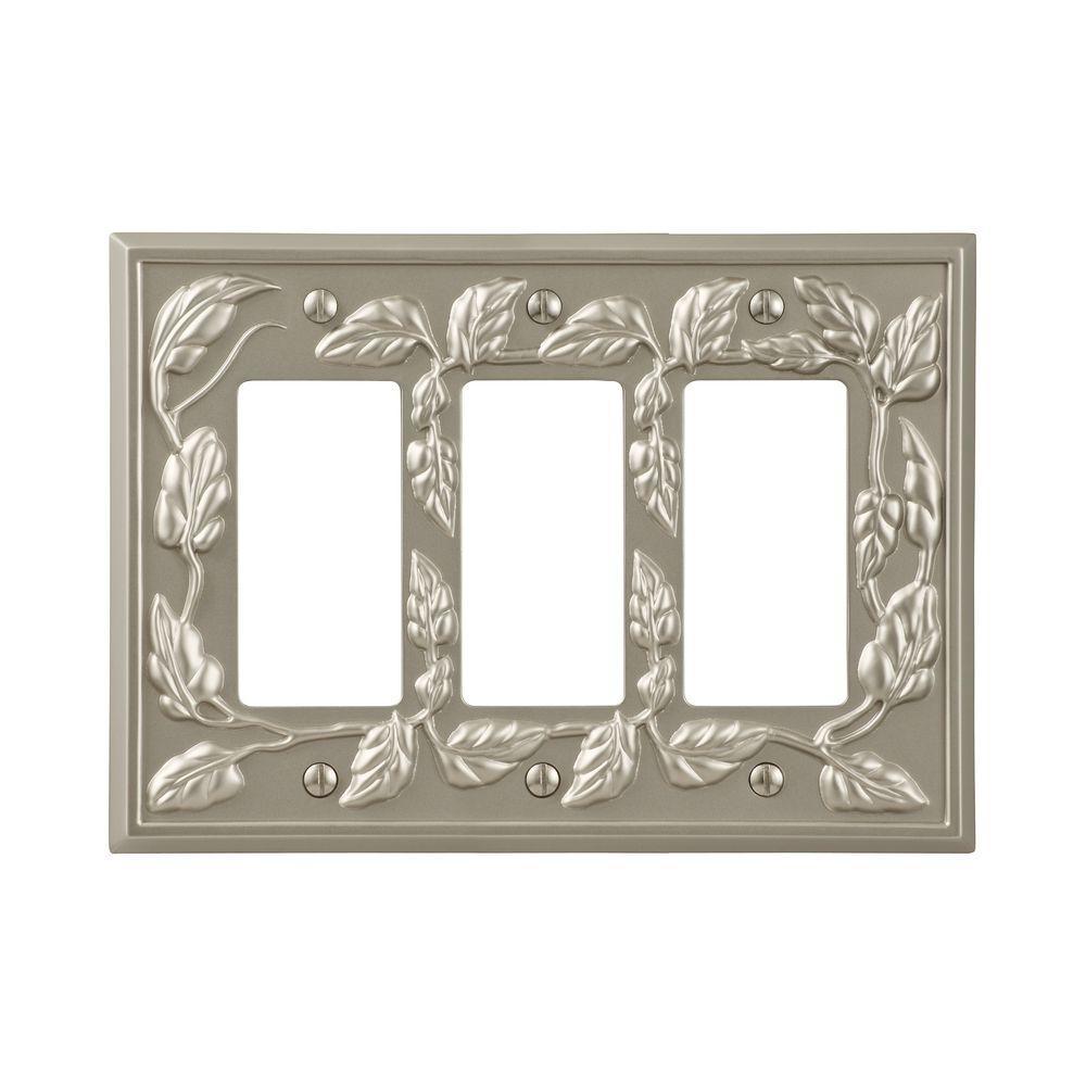 Leaf 3 Decora Wall Plate - Satin Nickel