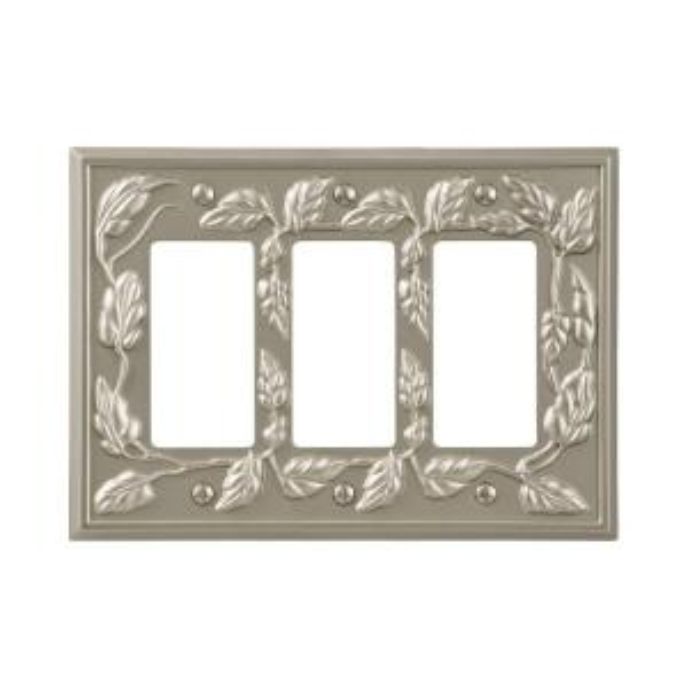 leaf 3 decora wall plate satin nickel