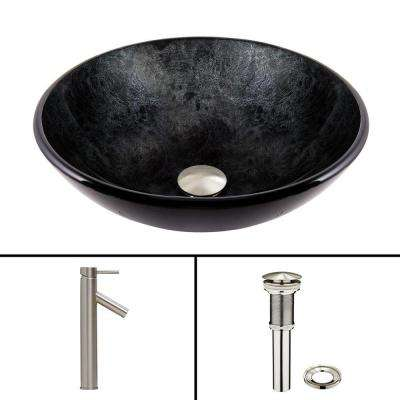 Glass Vessel Sink in Gray Onyx and Dior Faucet Set in Brushed Nickel