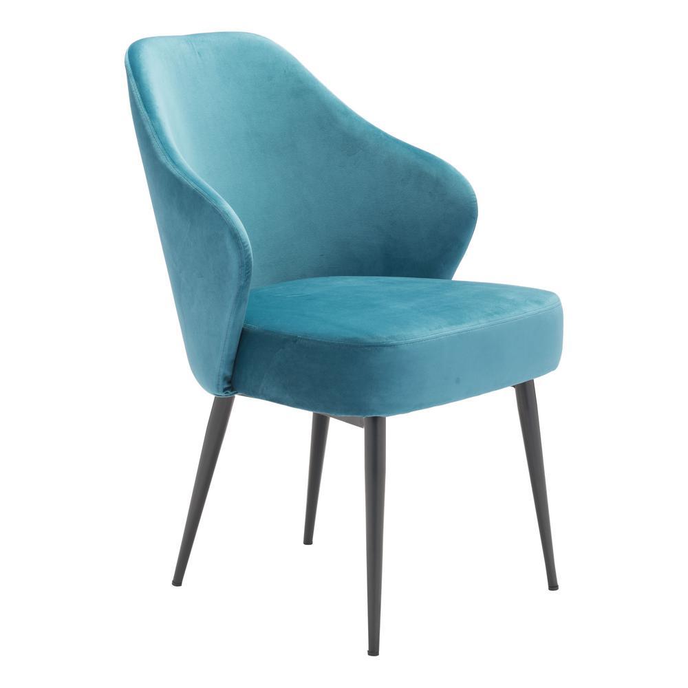 zuo savon green velvet dining chair 101075 the home depot. Black Bedroom Furniture Sets. Home Design Ideas
